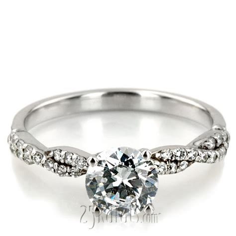 Infinity Style Twisted Shank Petite Diamond Engagement