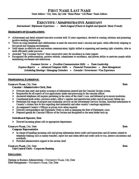 consular or administrative assistant resume template