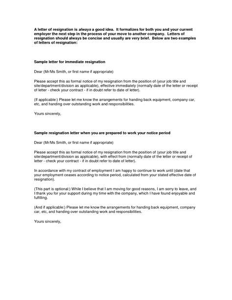 Contract Release Letter Resignation Letter Format Free Printable Letters Of Resignation Weeks Notice Employment