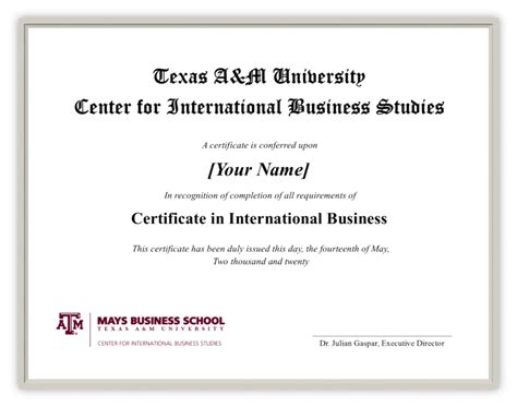 Mays Business School Mba Essays by Certificate In International Business Center For