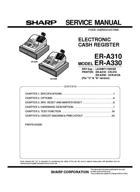 register service free sharp penztargep era 310 330 register service manual service manual