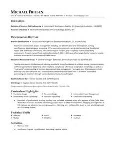 Foh Manager Sle Resume by Michael Friesen Resume