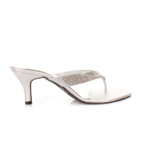silver sandals for wedding low heel wedding silver low mid heel mule diamante gem