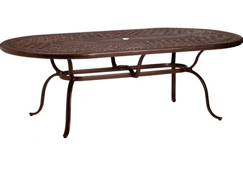 Oval Cast Aluminum Patio Table Tropitone Kd Garden Terrace Cast Aluminum 85 X 43 Oval Dining Table With Umbrella 820684