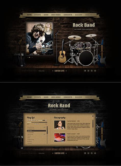 Rock Band Html5 Template Best Website Templates Rock Band Web Template