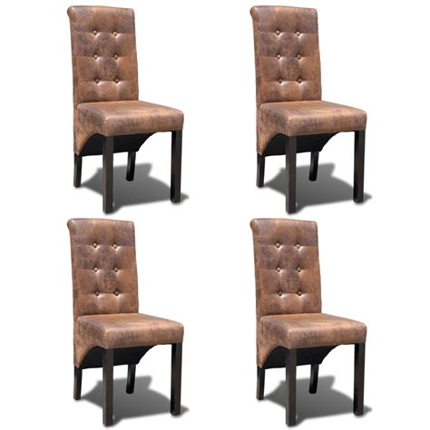 Dining Chairs 4 4 Artificial Leather Dining Chairs Vidaxl