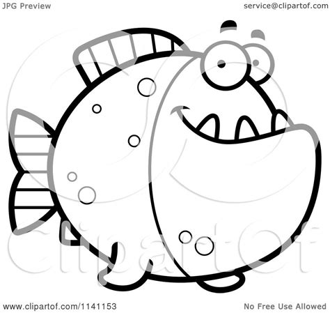 happy fish coloring page cartoon clipart of a black and white happy piranha fish