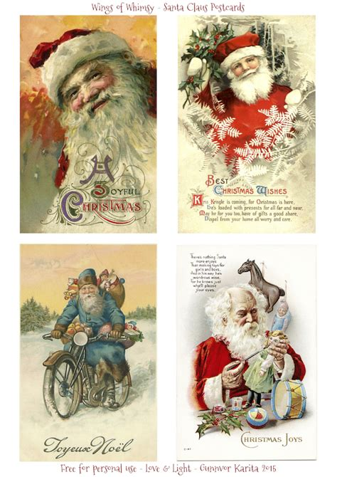 printable christmas vintage santa claus postcards wings of whimsy