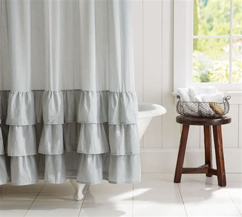 pottery barn ruffle curtains ruffle shower curtain pottery barn