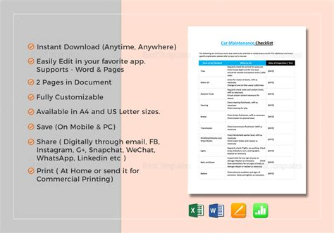 Car Maintenance Checklist Template by Car Maintenance Checklist Template In Word Excel Apple