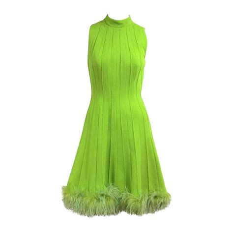 1960s Green Knit Ostrich Feather Dress At 1stdibs