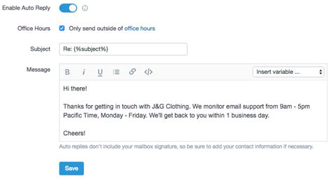 customer service auto reply email exles
