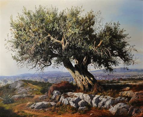 olive art olive tree painting by elidon hoxha