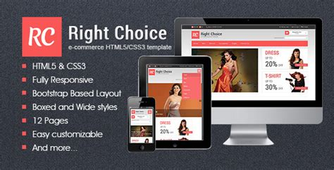Right Choice Html5 Css3 E Commerce Template By Mosaicdesign Themeforest Ecommerce Website Templates Free In Html5 Css3