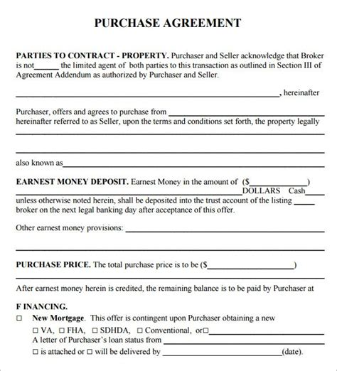 real estate purchase contract template template design