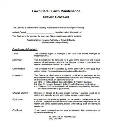 8 Lawn Service Contract Templates Free Sle Exle Format Download Free Premium Templates Lawn Care Service Contract Template