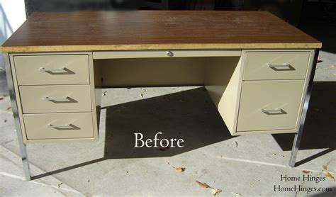 Metal Desk Makeover Before And After Reveal Diy Metal Desk