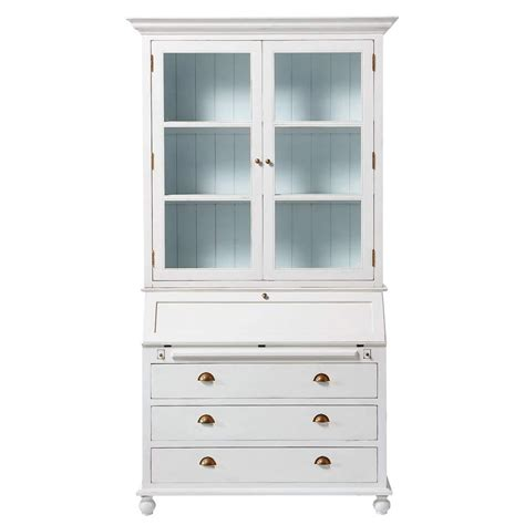 wooden writing desk bookcase in white w 120cm biarritz