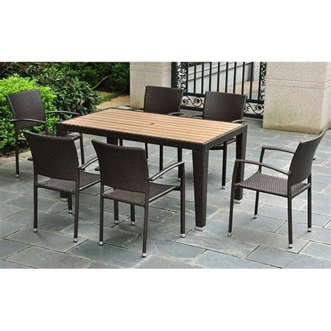 7 wicker patio dining set 4200 rt 4210 6ch ch