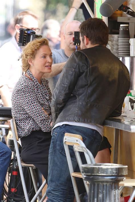 Uma Thurman Breaks Wrist On Set by Uma Thurman Took A Coffee With Bradley Cooper On The