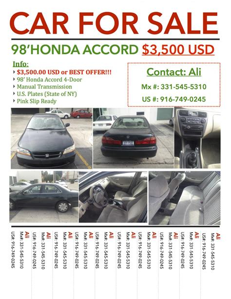 Car For Sale Honda Accord Uag Medical School Classifieds For Sale Flyer Template Free