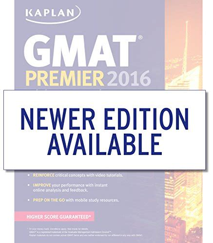 Kaplan Mba Prep by Kaplan Gmat Premier 2016 With 6 Practice Tests Book