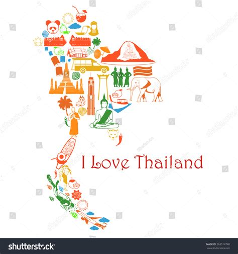 thailand map vector free map thailand thai symbols form map stock vector 263514740