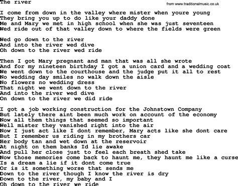 lyrics bruce springsteen springsteen river lyrics imgur