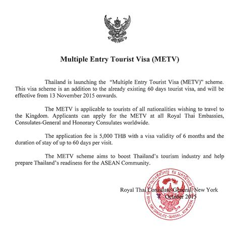 Invitation Letter Format For Thailand Visa Applying For Thai Entry Tourist Visa In Nyc