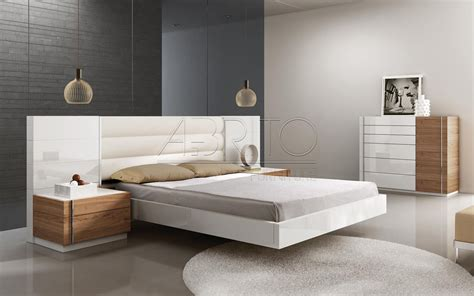 bed with home element contemporary double floating bed with integrated bedside table glubdubs