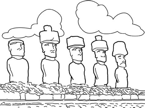 Easter Island Coloring Page | moai easter island coloring sheet coloring pages