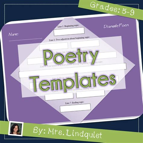 poetry templates for middle school casa de lindquist teaching