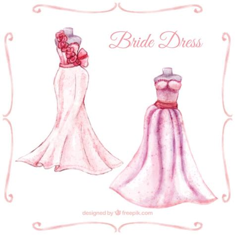 bajar imagenes de vestidos de novia gratis vestidos de novia en acuarela descargar vectores premium