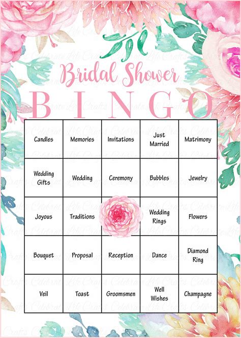 printable bridal shower games bingo floral bridal bingo cards printable download prefilled