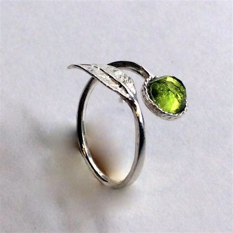 thin ring leaf ring sterling silver ring peridot ring