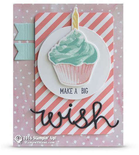 Tami Set Pink card make a big wish from the sweet cupcake set stin