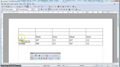 what is open table apa formatted table in open office
