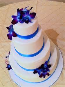 topaz blue, purple orchid and white wedding cake   Lolo's