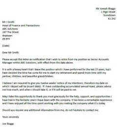 Retirement Resignation Letter by Retirement Resignation Letter Exle Resignation Letter Exles