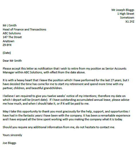 resignation retirement letter templates