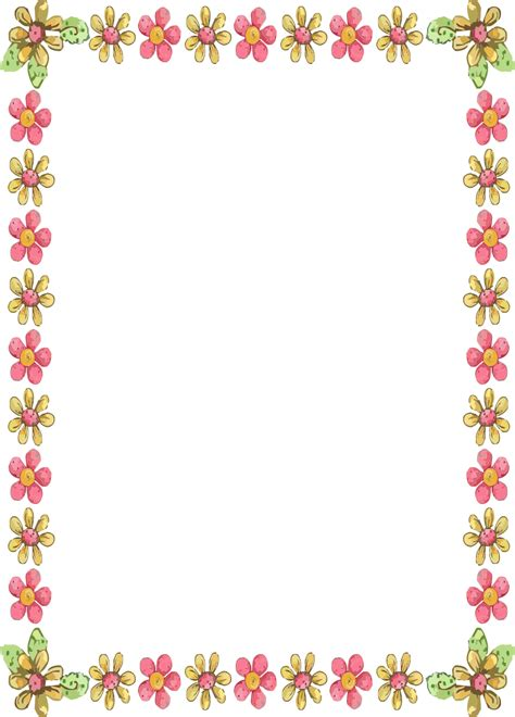 printable paper with flower border paper border flower designs clipart best