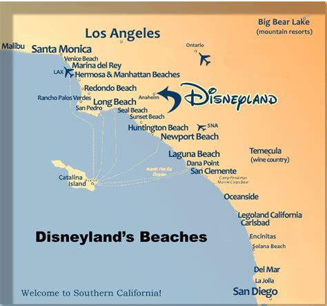 california map of beaches anaheim disneyland hotels