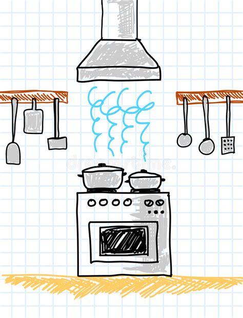keuken tekening tekening van keuken vector illustratie illustratie