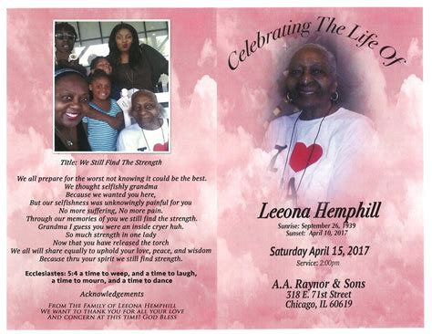 leeona hemphill obituary aa rayner and sons funeral home
