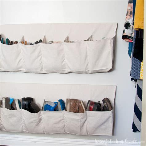 drop cloth hanging shoe storage houseful  handmade