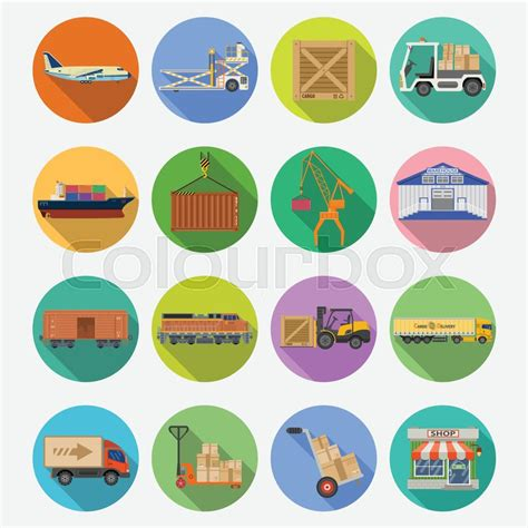 cargo transport packaging shipping delivery and logistics flat icons set with truck air