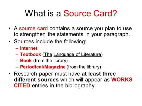 how to make source cards for a research paper how to write source cards for research papers ppt