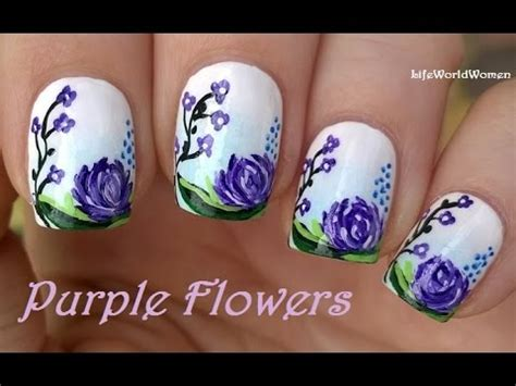 ombre nail art tutorial using acrylic paint purple flowers nail art tutorial using acrylic paint youtube