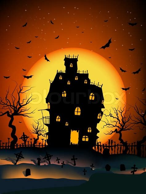 Is My House Haunted Address Search Free Vector Haunted House On A Graveyard Hill At With