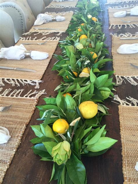 Lemon, Orange and Olive leaves with succulents & lemons